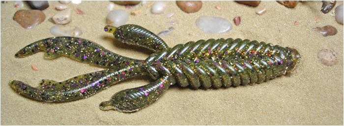 "GenX Bug 3.5"" custom hand-poured soft plastic ribbed creature bait     with live action pinchers"