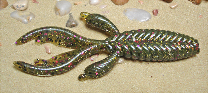 "GenX Bug 4.2"" custom hand-poured soft plastic ribbed creature bait     with live action pinchers"