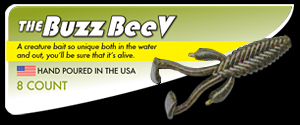 The Buzz BeeV hand poured soft plastic unique ribbed creature bait with kicking feet