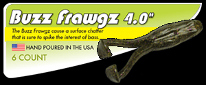 "4.0"" Buzz Frawgz hand poured soft plastic topwater surface chatter bait bass frog"