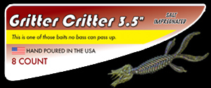 "3.5"" Gritter Critter salty hand poured soft plastic skirted creature bass fishing lure"
