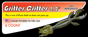 "4.2"" Gritter Critter salty hand poured soft plastic skirted creature bass fishing lure"